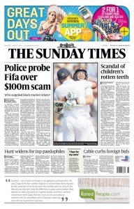 Sunday Times Front Page 13th July 2014