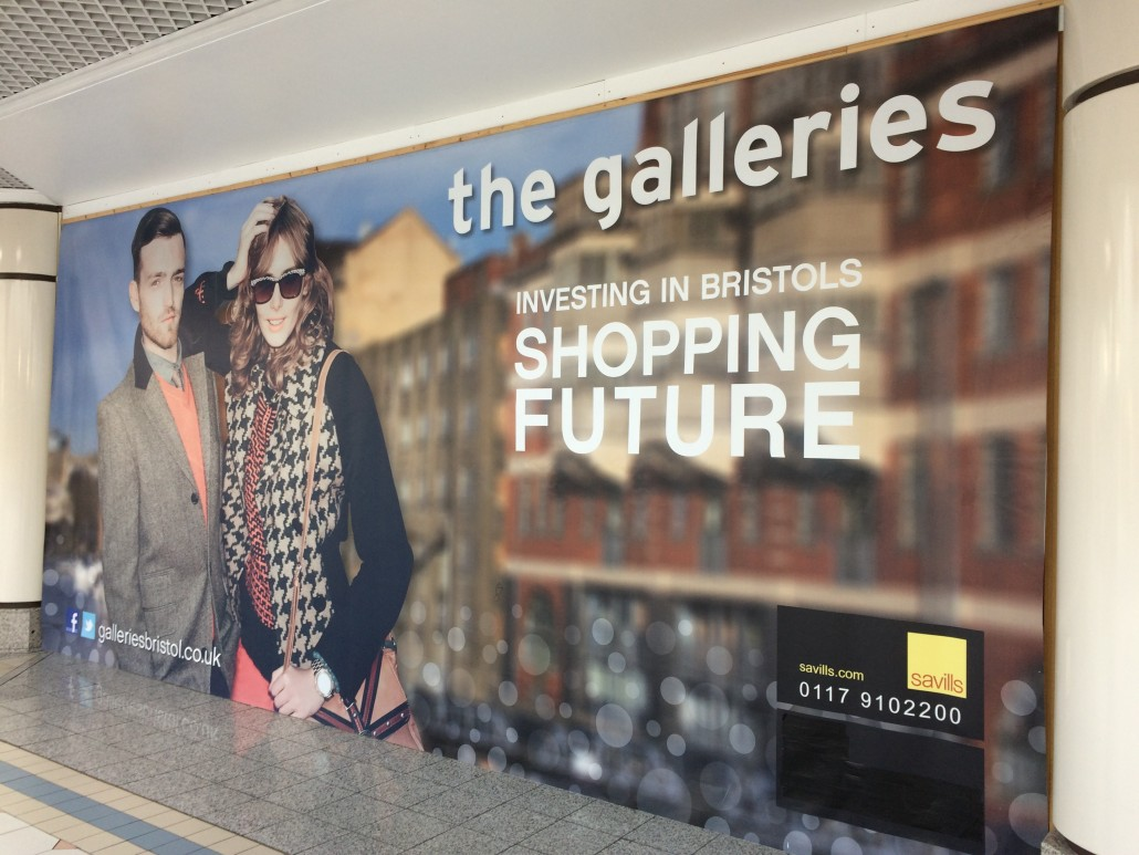 Banner with a typo in a Bristol shopping centre