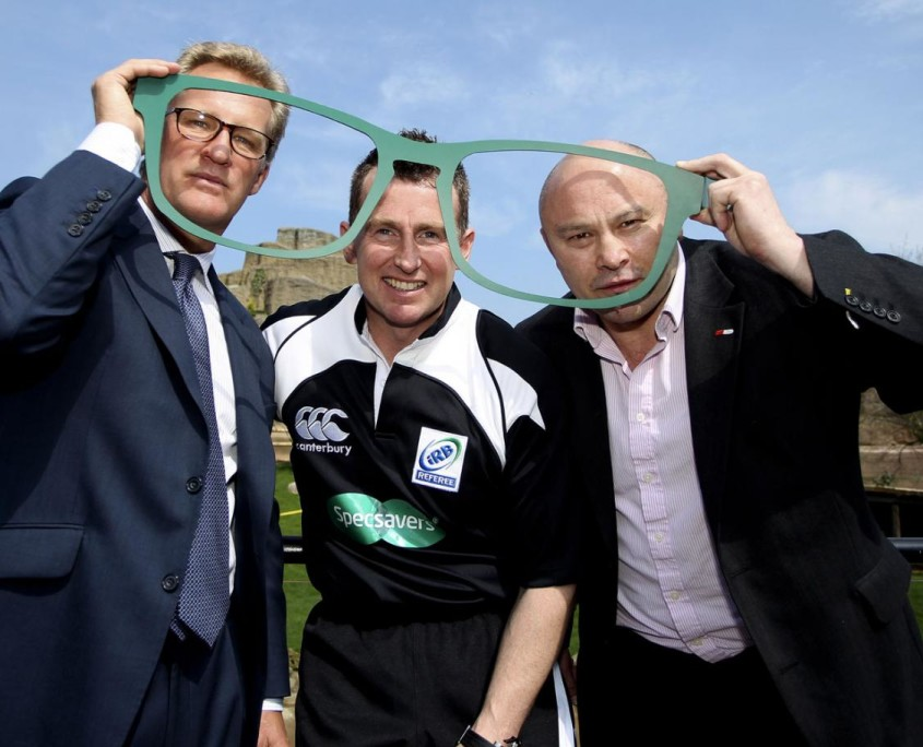 Michael Lynagh (left) and Brian Moore with referee Nigel Owens announce Specsavers' sponsorship of Lions tour