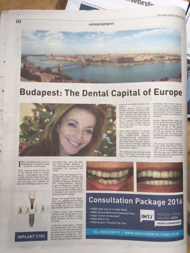 The Times, March 26, dental tourism advertisement